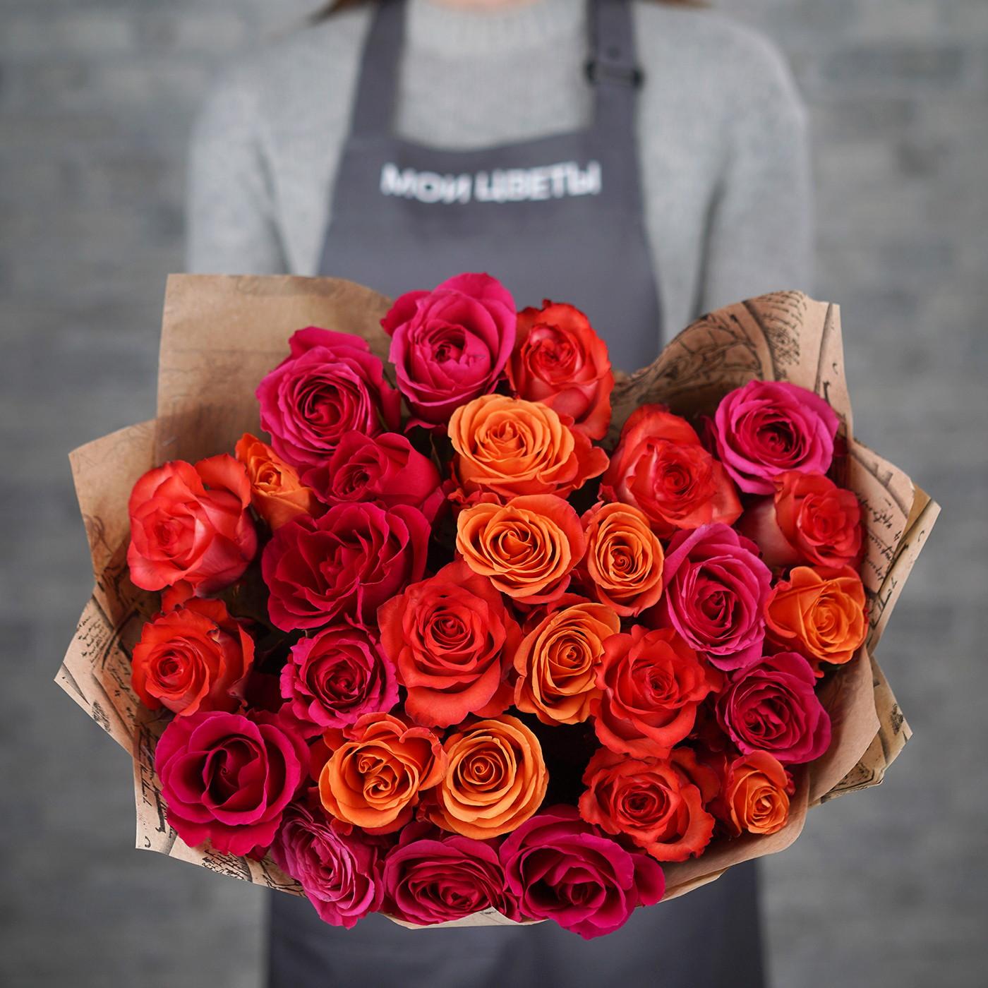 Букет из 31 розы «Малиновый коктейль»