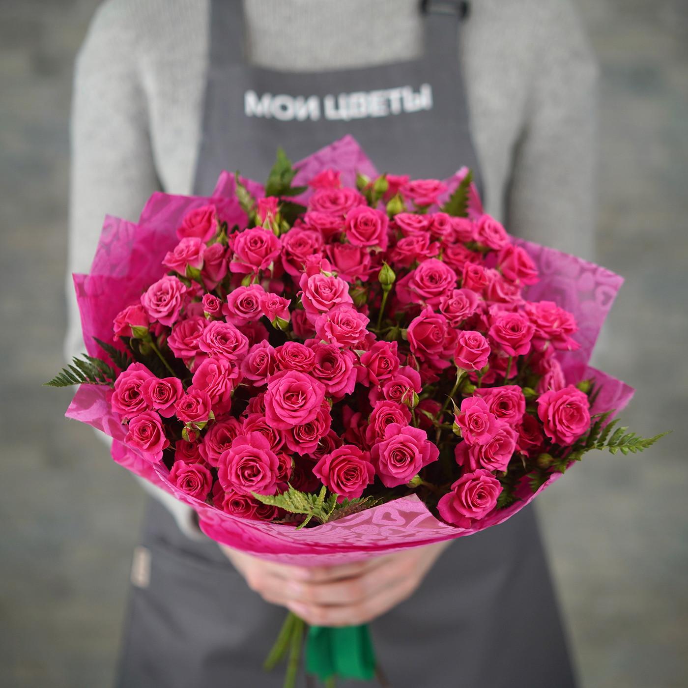Букет из 15 кустовых роз «Лоллипоп»