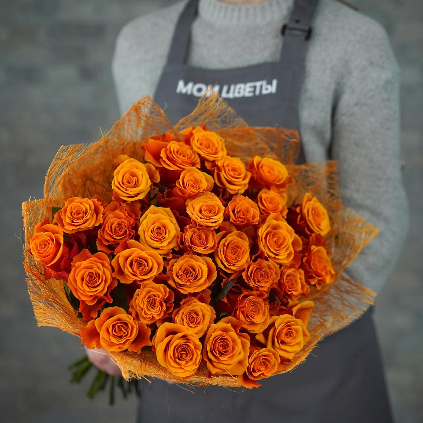 Букет из 31 розы «Черри бренди»