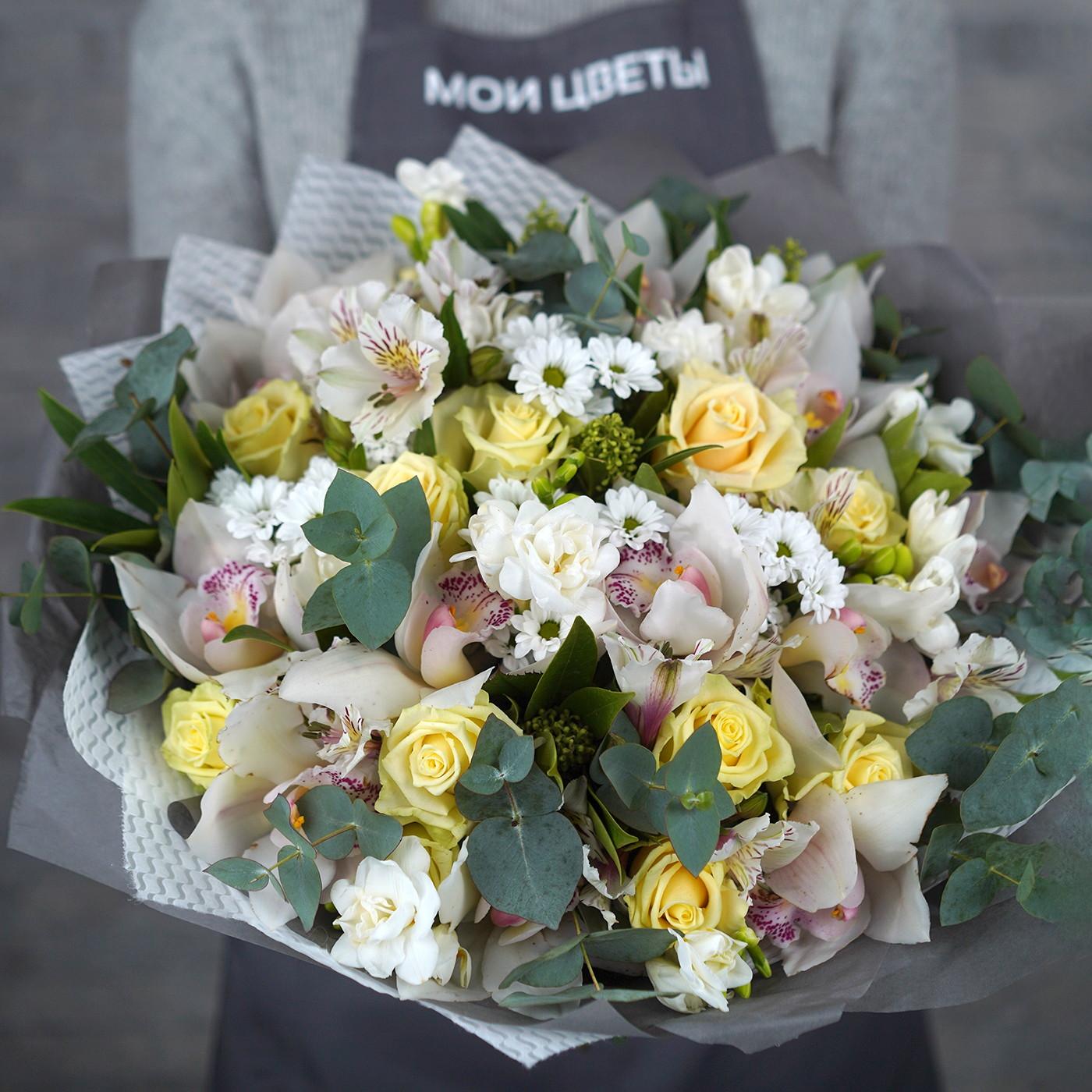 Букет с орхидеей и розой «Нежность»