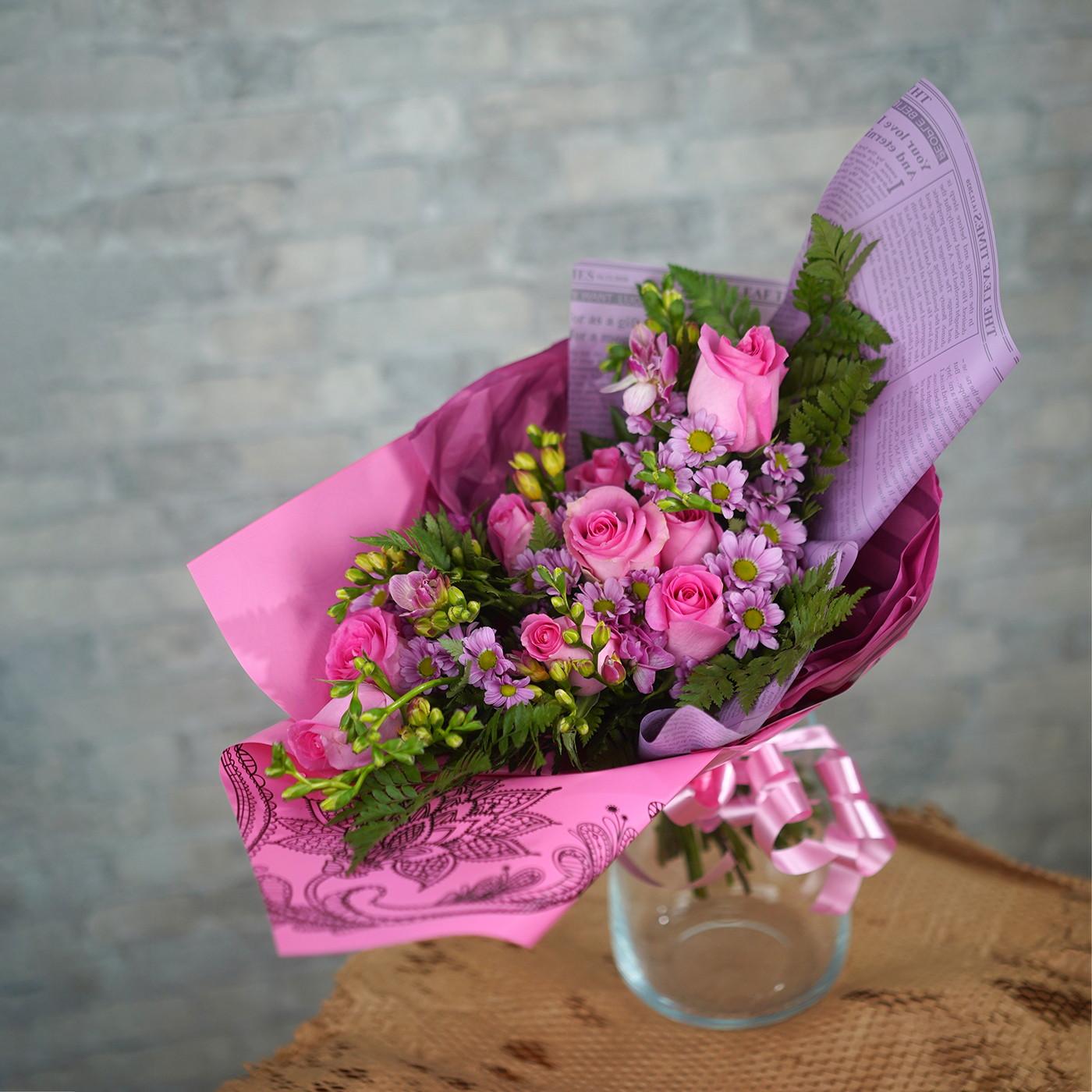 Букет с розой «Зефир»