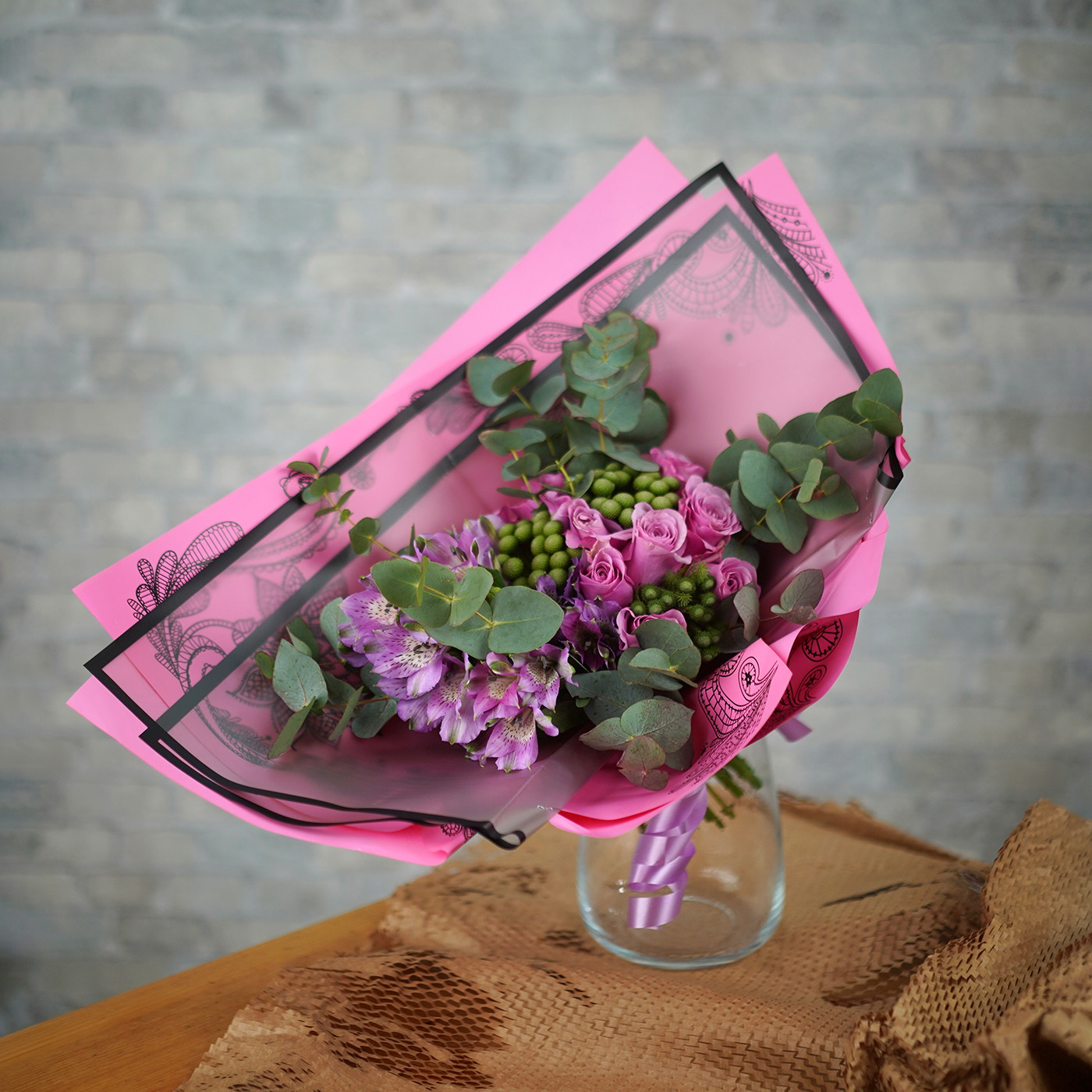 Букет с розой «Мадмуазель»