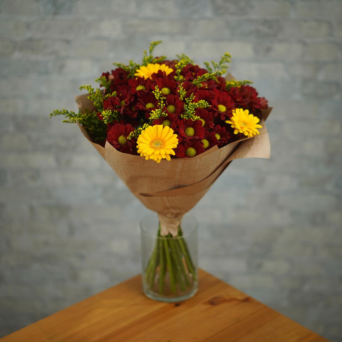 Букет с хризантемой «Жар»
