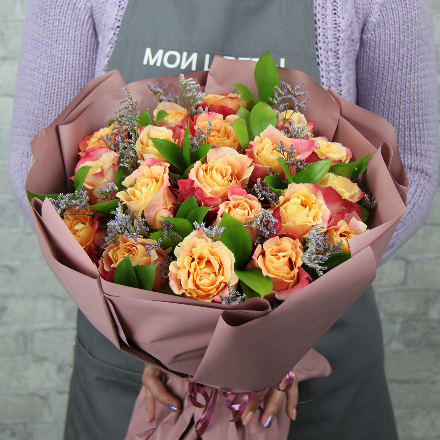 Букет с розой «Карамель в шоколаде»